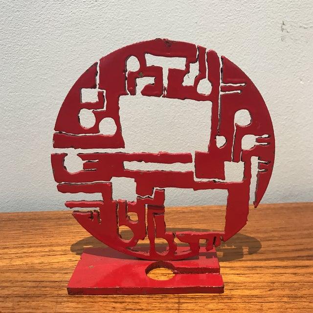 Red Metal Brutalist Sculpture - Image 2 of 5