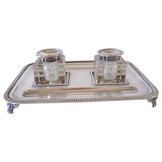 English Silver and Crystal Ink Stand