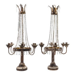 Pair of Italian Neoclassical Tole, Giltwood and Crystal Six-light Candelabra
