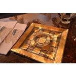 Image of Vintage Georges Briard Golden Celeste Pattern Fused Glass Serving Tray