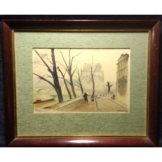 Paris Watercolor by Fernand Guignier, 1953