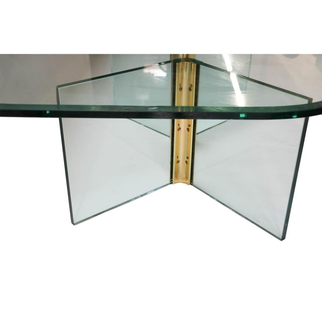 Vintage Pace Collection Rounded Glass Brass Coffee Table - Image 3 of 10