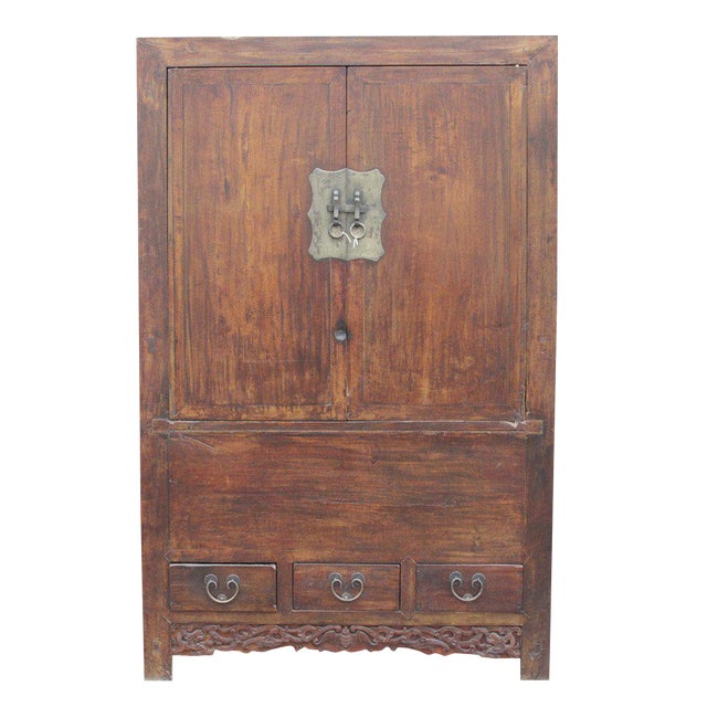 Antique Ming-Style Elm Armoire - Image 1 of 6