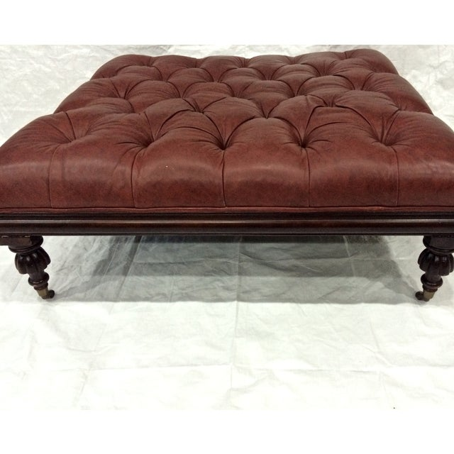 Henredon Large Tufted Leather Ottoman Chairish