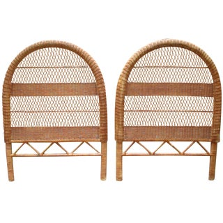 Vintage Wicker Bentwood Twin Headboards - A Pair