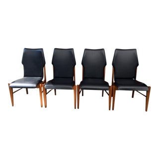 Set of 4 Mid Century Modern Lane High Back Walnut Dining Chairs