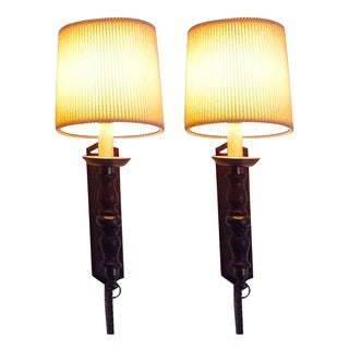 Walnut & Brass Wall Lamps With Pleaded Cloth Shades - Pair