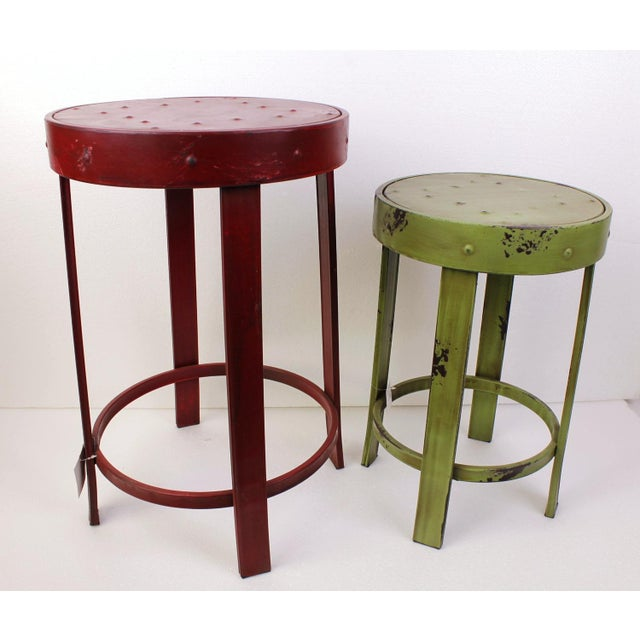 French Bistro Stools - A Pair - Image 2 of 7