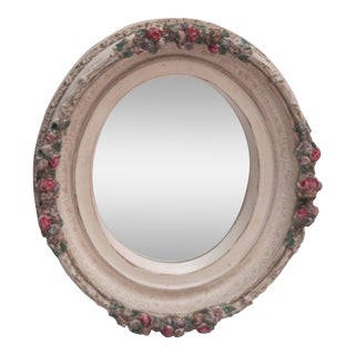Shabby Chic Oval Flower Mirror