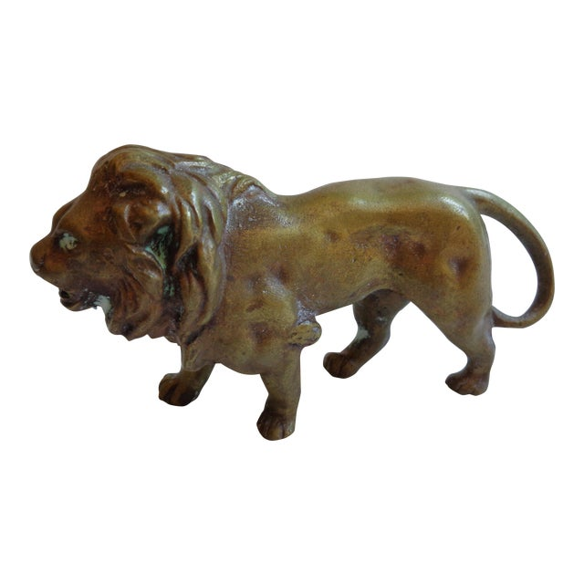 Vintage Solid Brass Lion Paperweight Figurine - Image 1 of 5