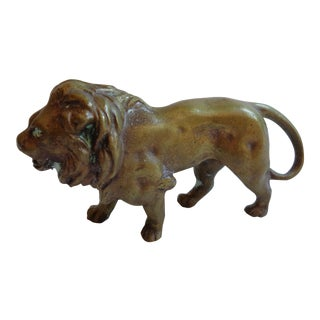 Vintage Solid Brass Walking Lion Paper Weight