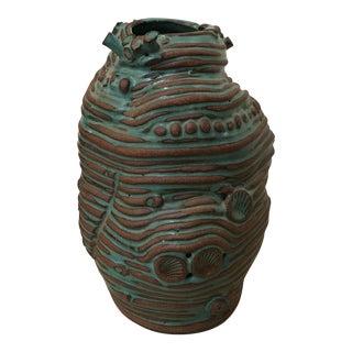 Turquoise Coiled Ceramic Vase
