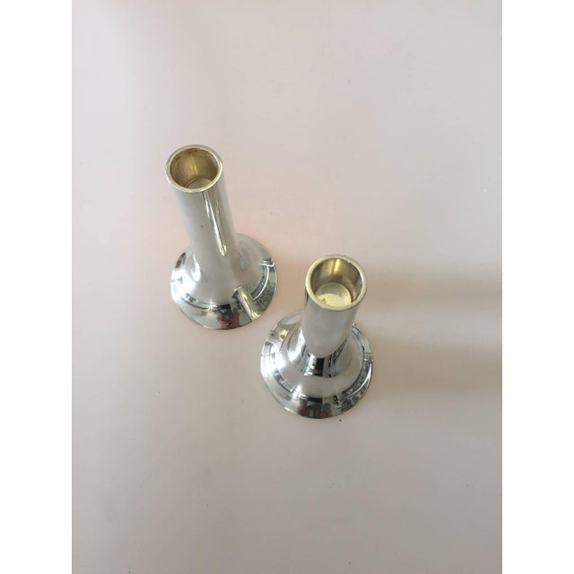 georg jensen sterling silver candlesticks pair chairish. Black Bedroom Furniture Sets. Home Design Ideas