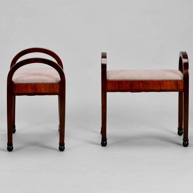 French Art Deco Upholstered Benches - A Pair - Image 2 of 10