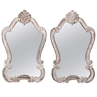 Rococo Style Distressed Painted Mirrors - Pair