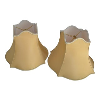 Silk Ochre Bell Shaped Lamp Shades - A Pair
