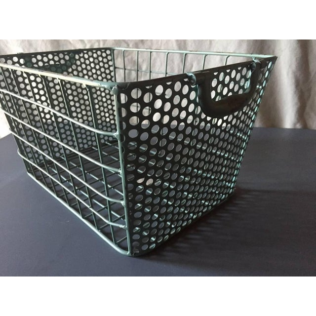 Blue Metal Perforated Industrial Style Basket - Image 4 of 8