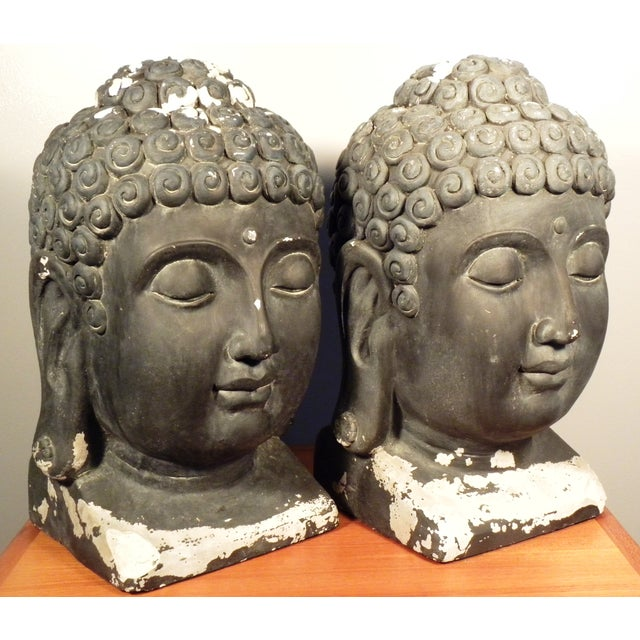 Large Matching Buddha Heads - A Pair - Image 3 of 6