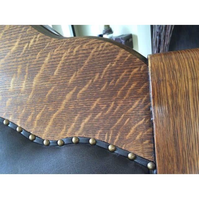 Antique Mission Style Oak & Leather Rocking Chair - Image 7 of 10