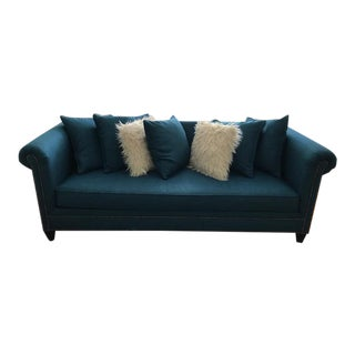 Crate & Barrel Turquoise Sofa & Pillows
