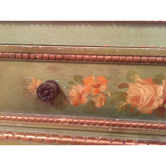 Image of Vintage French Handpainted Green Console Cabinet