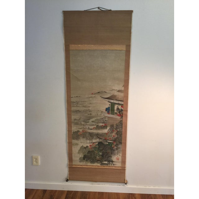 Vintage Japanese Painted Hanging Scroll - Image 2 of 8
