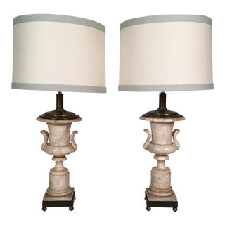 Pair of Neoclassical Marble Urn Lamps