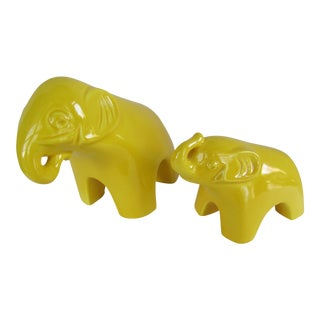 Vintage Jaru Yellow Elephants - A Pair
