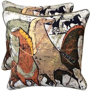 Mid-Century Grecian Equestrian Throw Pillows - 2