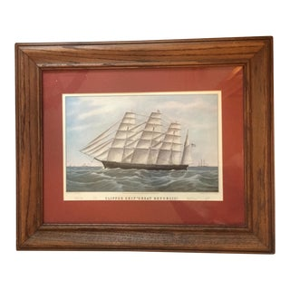 "1850s Framed ""Great Republic"" Nautical Print"