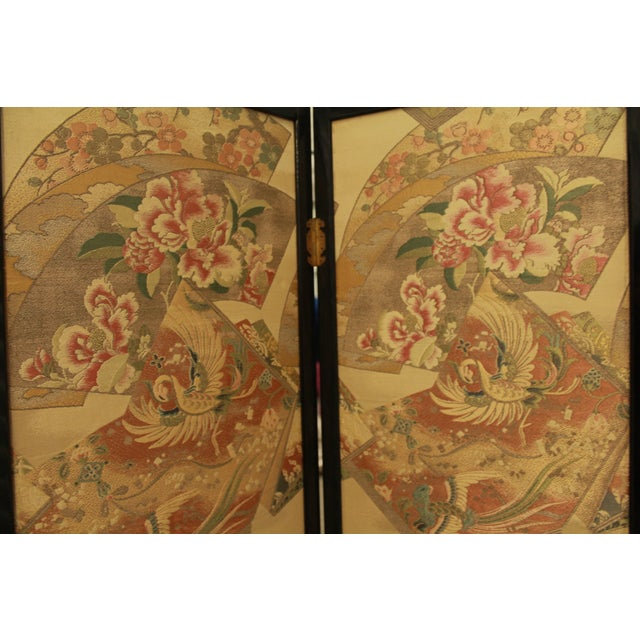 Japanese Byobu Folding Screen With Silk Panels - Image 3 of 8