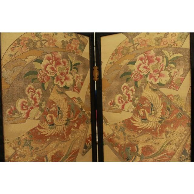 Image of Japanese Byobu Folding Screen With Silk Panels