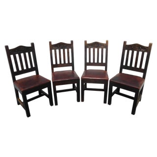 Rustic Spanish Monterey Style Leather Chairs - 4