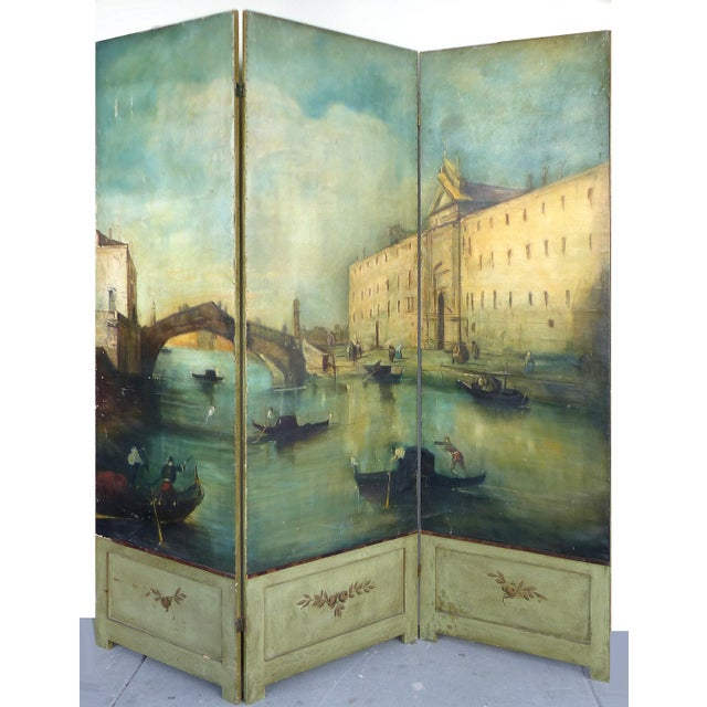 19th-C. Venetian Oil on Canvas Screen - Image 2 of 11