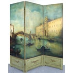 Image of 19th-C. Venetian Oil on Canvas Screen