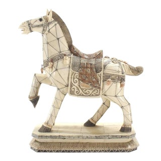 Sheeted Bone Tile Horse Sculpture Statue