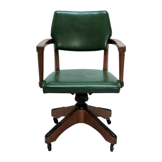Mid Century Swivel Desk Chair in Green - Image 1 of 6