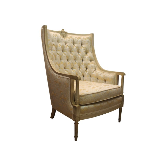 Louis XV French Bergere Tufted Back Chair - Image 1 of 11