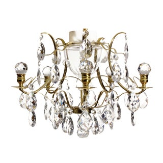 Baroque Brass & Almond Crystal Bathroom Chandelier