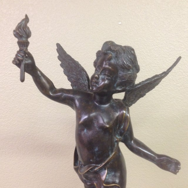 Image of Cherub & Torch Bronze Statue
