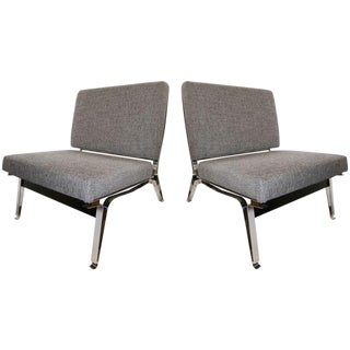Pair of Ico Parisi Steel and Walnut Slipper Chairs