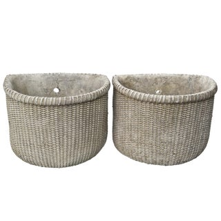 Vintage Style Concrete Wall Planters - A Pair