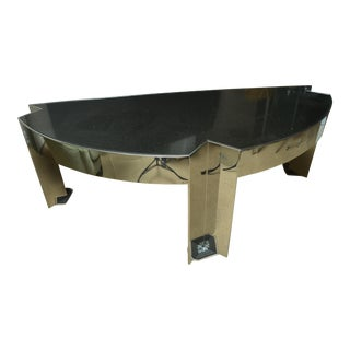 Fabulous Mid-Century Polished Steel Desk with Black Marble Top by Leon Rosen