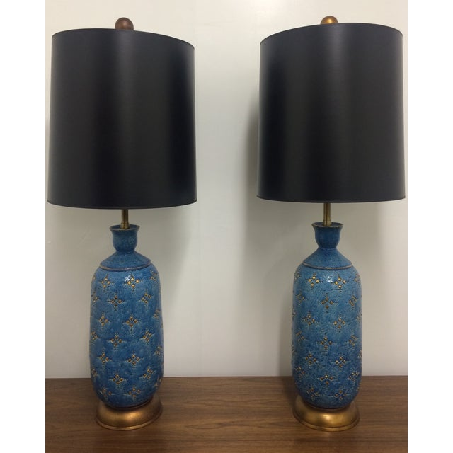 Image of Italian Ceramic Marbro Lamps - A Pair