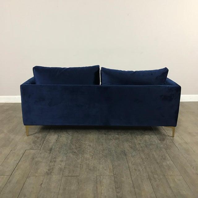 Modern Royal Velvet Navy Blue Sofa - Image 10 of 11
