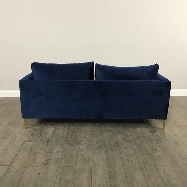 Image of Modern Royal Velvet Navy Blue Sofa