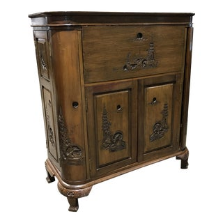 Chinoiserie Walnut Bar Cabinet