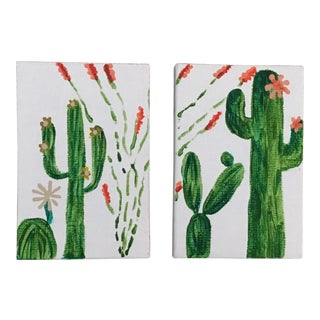 Mini Boho Chic Cactus Paintings - A Pair