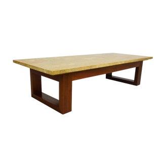 Modernist Travertine and Walnut Coffee Table