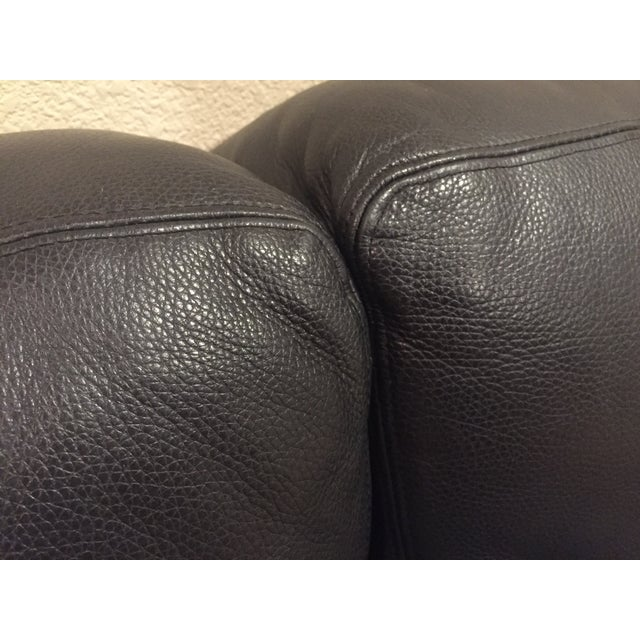 custom italian black leather sofa single chair chairish